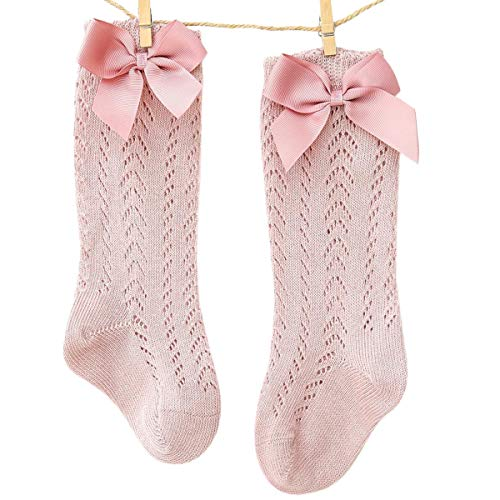 WangsCanis Calcetines Largos de Niña Medias de Encaje para Bebé Recién Nacida 0-3 Años Calcetines de Algodón de Color Sólido con Lazo y Estilo Princesa Lindo (Rosa Oscuro, 2-3 Años)