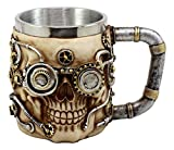 Ebros Gift Silver Steampunk Detective Skull Coffee Mug With Painted Mechanical Gearwork Pipeline Beer Stein Tankard Drink Cup 14oz (Gold Steampunk Skull)