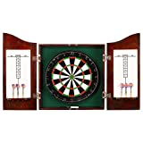 Hathaway Outlaw Free Dartboard and Cabinet Set, Cherry Finish