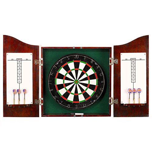 Hathaway Centerpoint Solid Wood Dartboard and Cabinet Set, Dark Cherry Finish
