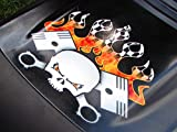 Hood Decal - PistonHead Torched Checkered Flag version - for John Deere & all riding ride on lawn garden mower tractor racing