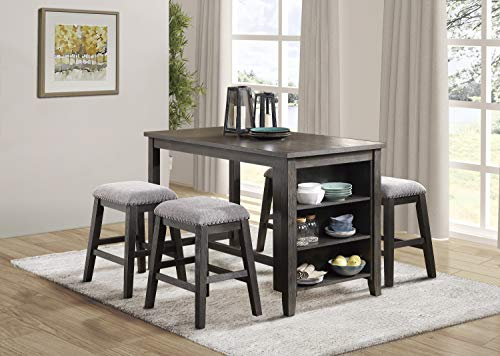 Lexicon 5-Piece Counter Height Dining Set, Two-Tone Gray Dining Room Set Bookcase