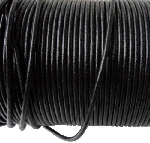 AURORIS - 10m Rolle Lederband rund - Ø 2mm - schwarz