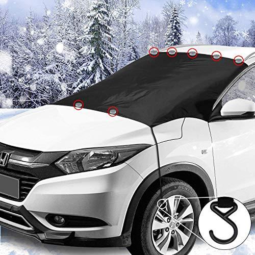 iZoeL Magnetische Frontscheibenabdeckung Auto Scheibenabdeckung Windschutzscheibe Frost Schnee Schutz mit 7 Magnete 2 Haken Eisschutzfolien Oversized für SUV Truck Normal Auto (7 Magnets)