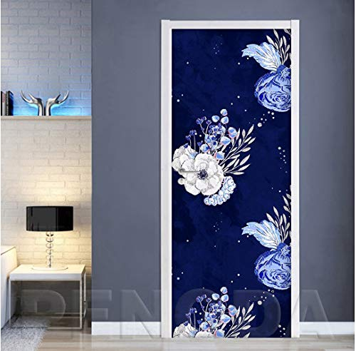 MNJKH Door stickers door decals,Renovation Decal Self Adhesive Flower Leaves Picture Home Decoration Waterproof Print Artwork For Living Room Door Sticker