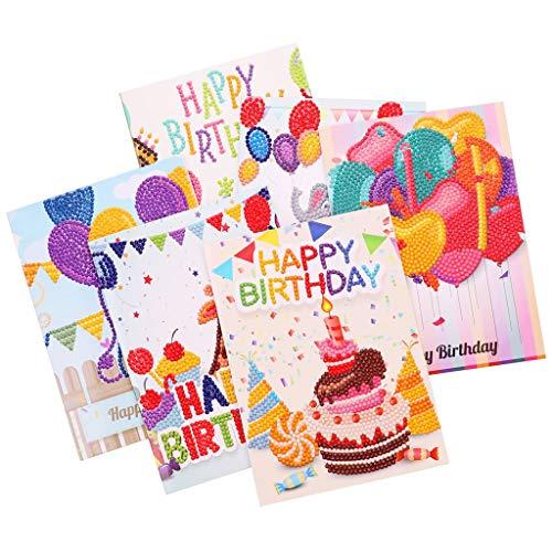 Z-HOMZYY DIY Verjaardagskaart Diamant Schilderijen, Creatieve Handleiding 3D Diamant Schilderij Volledige Diamant Verjaardag Postkaart Set, voor Vakantie Verjaardagscadeau (6 Stuks)