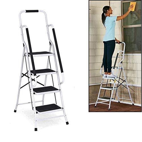 Trittleiter 4 Stufen mit handlauf und Rutschfester Stufen, Stahl Stehleiter Haushaltsleiter Klapptritt Leiter, Ideal für Zuhause/Küche/Garage, belastbar bis 150 kg