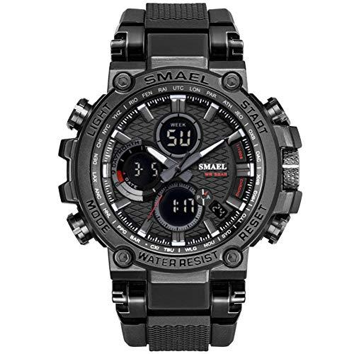 SMAELBand Digital Army Watch Men LED Sportuhren wasserdichte Uhr Militärarmbanduhr für Herren,Black