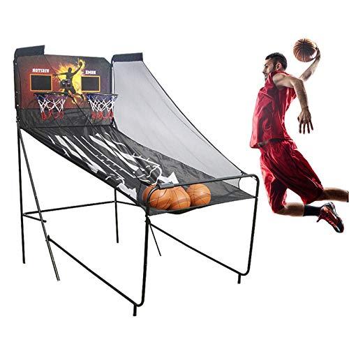 Juego de Baloncesto Juego de Baloncesto Arcade de Interior 8 en 1 para 2 Jugadores, Aro de Tablero Electrónico Plegable de Doble Marcador LED con 5 Bolas y Bomba de Aire, Fácil de Montar