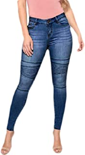 Women Pleated Moto High Waist Stretch Denim Skinny Jeans Denim Pants