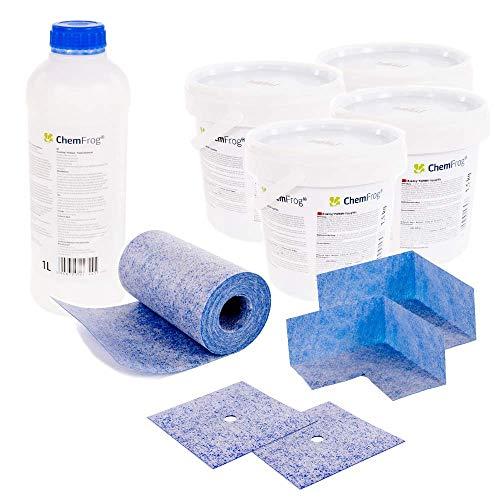 Chemfrog® Dichtungs-Set CDS-600 | 6 kg Fliesenabdichtung für Innen/Außen (Incl. Grundierung, Wandmanschetten & Dichtband) | Duschabdichtung