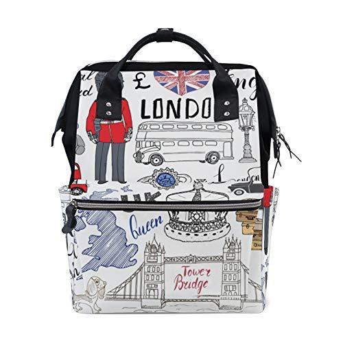 JinDoDo Rucksack London Muster Bus Briefkasten Soldat Student Tasche Paar Rucksack Mama Tasche Computer Tasche Reisetasche