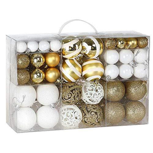 BAKAJI Confezione 100 Palline di Natale Diametro 3/4/6 cm Addobbi e Decorazioni per Albero di Natale (Bianco Oro)