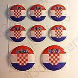 All3DStickers Aufkleber Kroatien Flagge Harz Gewölbt 8 x Aufkleber von Kroatien Fahne Rund 3D Kfz-Aufkleber Gedomt Flaggen