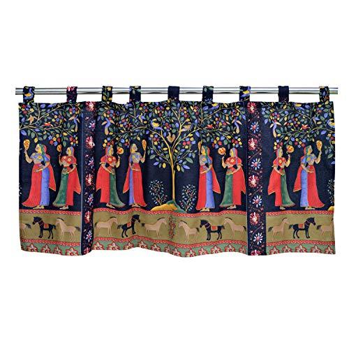 """ABREEZE Vintage Short Curtains Sari Woman Style Cafe Curtains Cotton Linen Half Window Curtain Windows Treatment Curtains Valances 55"""" W X 20"""" L"""