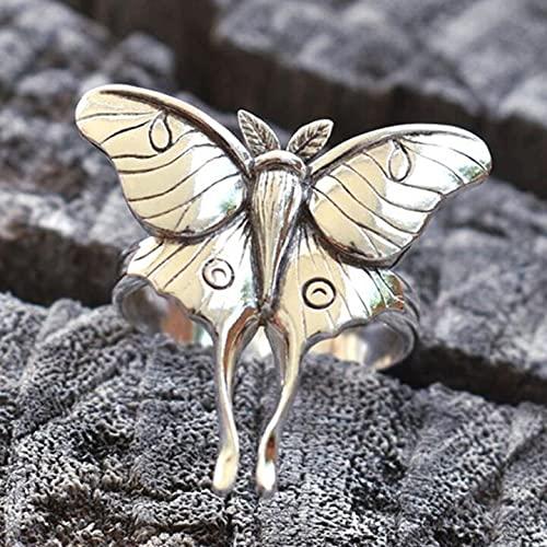 PFZL Anillo de Mariposa de Plata Vintage, Compromiso de Elfos de Estilo Princesa para Mujer, Anillos de Insectos de Mariposa de Boda exquisitos, joyería de Moda Vintage para Mujer (8)