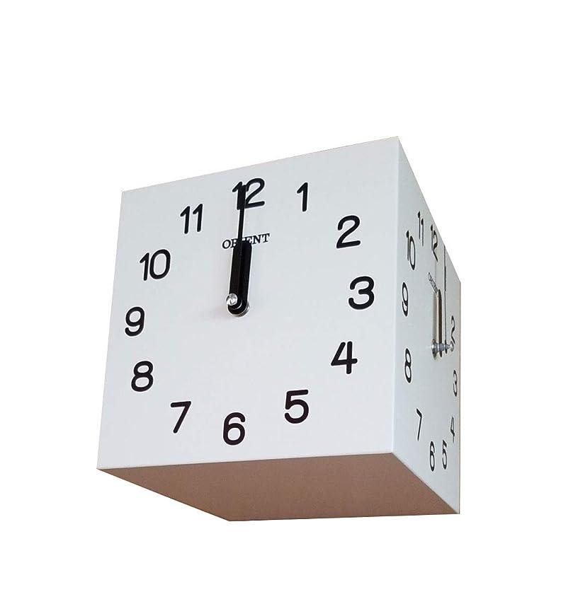 減らす居住者にもかかわらず天然木三面時計 両面壁掛け時計 おしゃれな 低騷音 インテリア 両面壁掛け時計-white