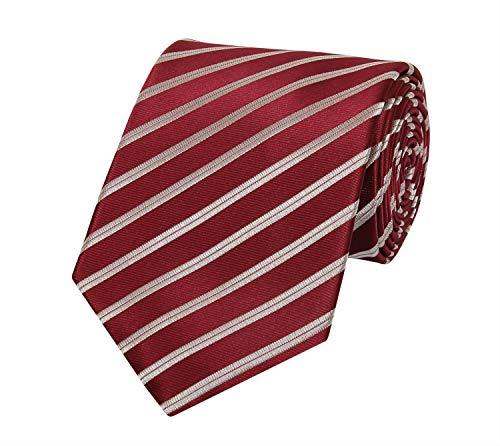 Fabio Farini - Elegante corbata de hombre a rayas de 6 y 8 cm de ancho 8 cm Vino tinto Plata