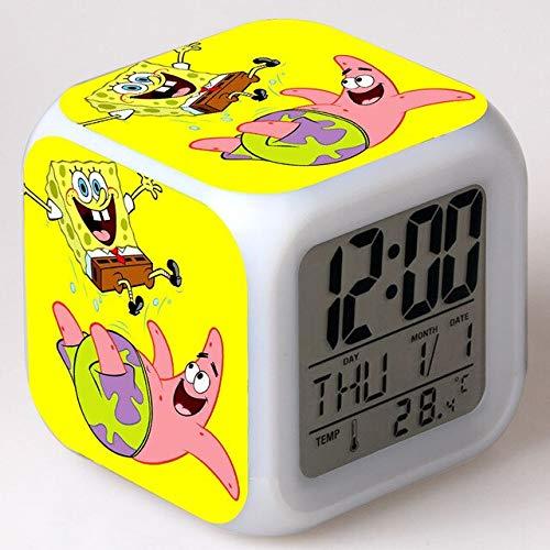 Spongebob Squarepants Kids Alarm Clock Color Change Toys Digital reloj despertador LED reveil Wake up Light Electronic wekker,13