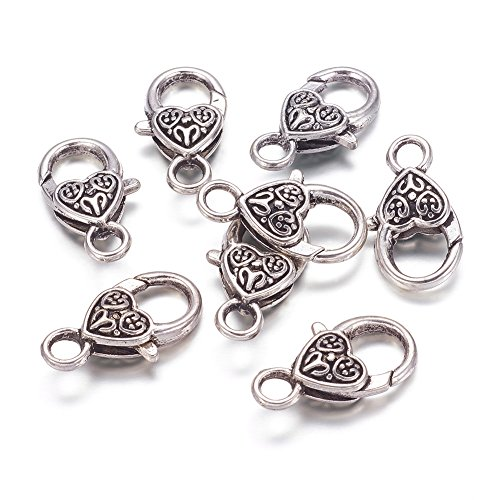 Kissitty 50-Piece Tibetan Antique Silver Large Heart Lobster Claw Clasps Lead & Nickel & Cadmium Free 1x0.55 Inch Jewelry Making Findings