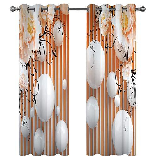FACWAWF Home 3D Giardino Tridimensionale Vista Reale Balcone Interno Soggiorno Finestra A Bovindo Tessuto in Poliestere Tenda Oscurante 150x166cm(2pcs)