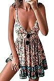 Mujer Vestido Bohemio Corto Sin Espalda Verano Florales Vestido Sexy Cuello en V Noche Vestidos de Playa Rosado M