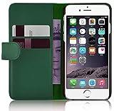 JammyLizarD Lederhülle für iPhone 6 / 6s | Ledertasche [ Classic Wallet Tasche Series ] Leder Book Hülle Hülle Flip Cover Schutzhülle mit Kartenfach, Waldgrün