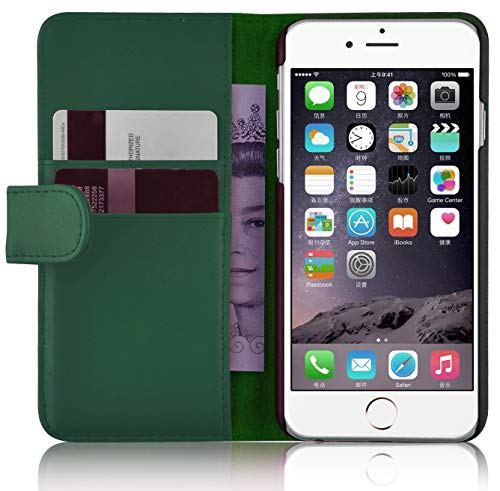 JammyLizarD Custodia in pelle per iPhone 6 / 6s | Classic Wallet Series | Custodia a libro in pelle con scomparto per carte di credito, verde bosco