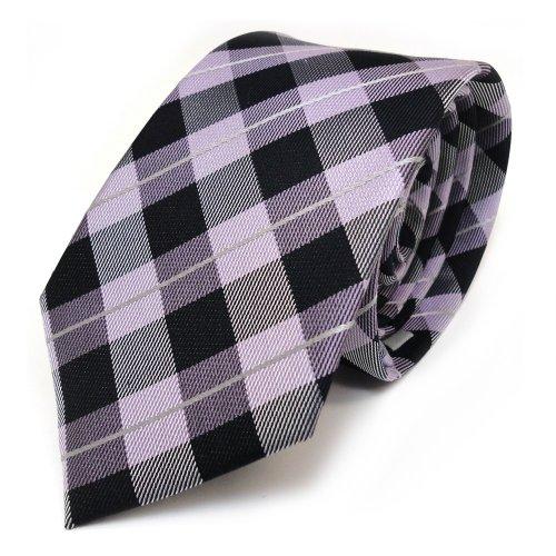 Mexx corbata de seda - morado violeta plata negro a cuadros