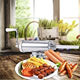Songlela Manual Sausage Filler Maker, Meat Stuffer Filler Hand Operated Machine, Horizontal Stainless Steel Meat Sausage Stuffer with 3 Size Nozzles Attachment, Commercial and Household Use (3LB)