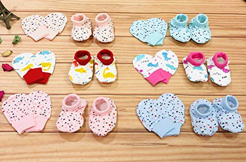Fareto® Giftpack Super Soft Baby 6 Pairs of Mittens & 6 Pairs of Socks(Elastic Free)(Total Items:12)(0-6 Months)