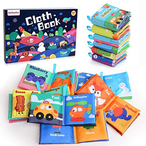 BeebeeRun Babys First Soft Books with Rustling Sound,Non-Toxic Cloth Books Toy Set for Newborns, Infants, Toddlers & Kids.Perfect for Baby Toy Gift Sets Baby Shower -Pack of 6
