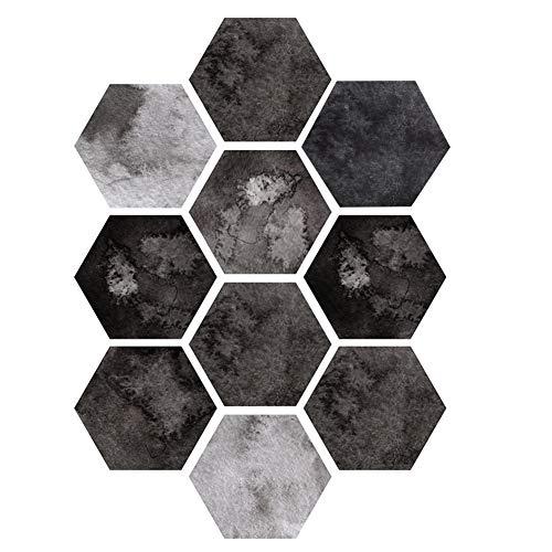 10Pcs Simulación Hexagonal Patrón único Impermeable Antideslizante Autoadhesivo Piso de baldosas Calcomanías de Vinilo para Pared