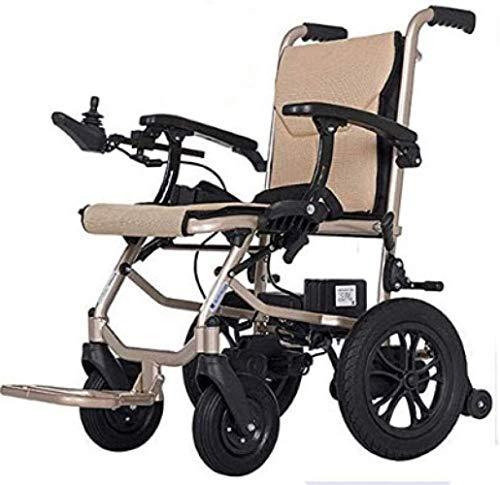 HZYDD Silla de Ruedas eléctrica de Doble Control Delantero y Trasero ergonómico, Scooter portátil de aleación de Aluminio automático Inteligente, Beige, Beige, Color Nombre: Beige (Color : Beige)