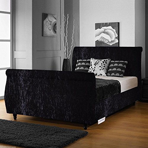 Home Furnishings UK Hf4you Limcho Crushed Velvet Sleigh Bed Frame – 4FT Small Double - Black - Orthopaedic Sprung Mattress