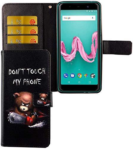 König Design Handyhülle Kompatibel mit Wiko Lenny 5 Handytasche Schutzhülle Tasche Flip Hülle mit Kreditkartenfächern - Don't Touch My Phone Bär mit Kettensäge
