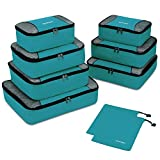 Gonex Packing Cubes 9 Set Travel Luggage Organizer with Laundry bag Blue
