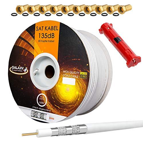 HB-Digital Set 100m Koaxial SAT Kabel 135db Weiß + 10x F-Stecker vergoldet + 1x Abisolierer | CU Reines Kupfer Satellit Antennenkabel 5-Fach geschirmt für DVB-S/S2 -C/C2 -T/T2 DAB+ Radio BK Anlagen