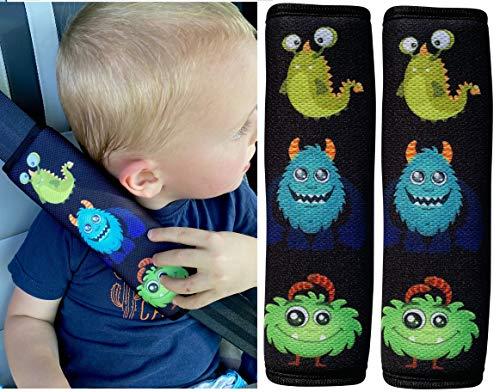 Imagen para 2x protector de cinturón de seguridad HECKBO® con dibujos de monstruos: cinturón de seguridad, almohadilla para el hombro, cojín para el hombro, funda de cinturón, asiento para el coche