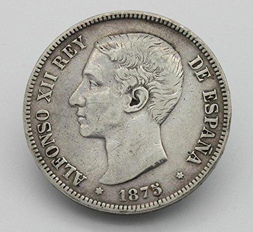 Desconocido Moneda de 5 Pesetas de Plata del Año 1875 Durante La Epoc