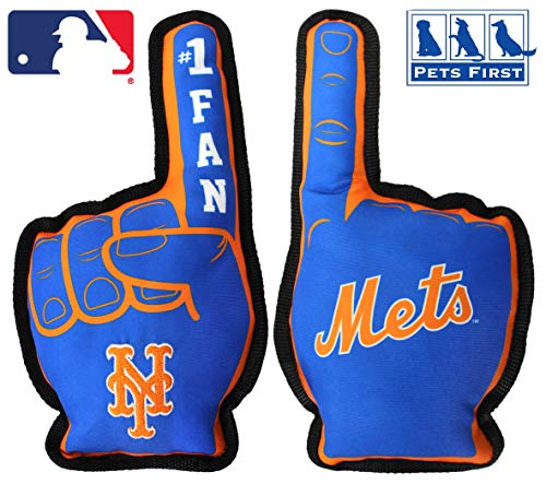 MLB New York Mets MET-3277MLB NEW YORK METS #1 FAN TOY. Best SPORTS Dog Toy with Double stitched trim & Tough Nylon material filled with Chewable Polyfil & INNER SQUEAKER, Blue, 14 x 5 Inches