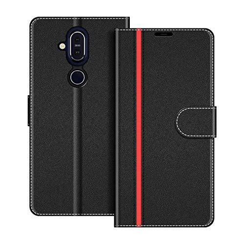 COODIO Handyhülle für Nokia 8.1 Handy Hülle, Nokia 8.1 Hülle Leder Handytasche für Nokia 8.1 Klapphülle Tasche, Schwarz/Rot