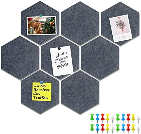 Yoillione Pin Board Hexagon Felt Board Tiles Self Adhesive Notice Board for Home and Office product image