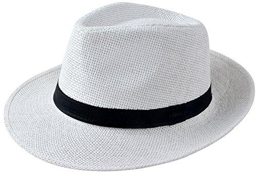 Miobo Sombrero de paja Panamahut Mountain Stroh sombrero de paja sombrero de verano Blanco 58 cm