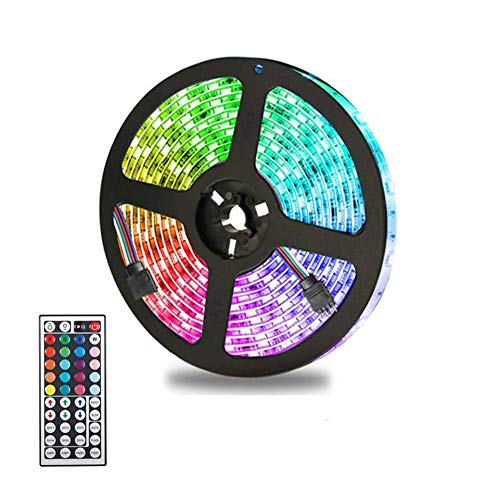 VGROUND 5M Impermeable Tira LED RGB 300 Leds 5050 SMD Tira LED de Luces LED Kit Completo con Control Remoto de 44 Botones para Dormitorio, Fiesta, Hogar