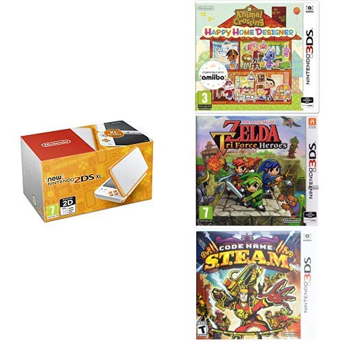 Nintendo Handheld Console - New Nintendo 2DS XL - White and Orange (Nintendo 3DS) + Animal Crossing Happy Home Designer + The Legend of Zelda Tri Force Heroes + Code Name S.T.E.A.M