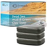 Dead Sea Mud Salt Natural Bar Soap Minerals Face Body Cleanser Hand Soap Helps Acne Pimples Eczema Exfoliate Dead Skin Best Detox for All Skin Types Organic Ingredients Vegan Men, Women 3Pk 12oz Total