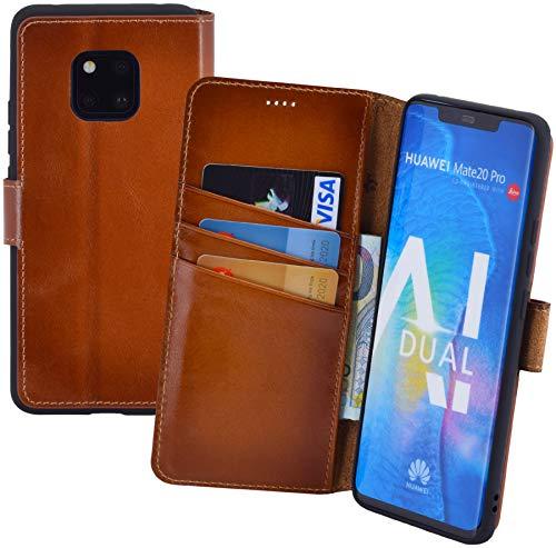 Suncase Book-Style kompatibel für Huawei Mate 20 Pro Hülle (Slim-Fit) Leder Tasche Handytasche Schutzhülle Hülle (mit Standfunktion & Kartenfach - Bruchfester Innenschale) in Burned - Cognac