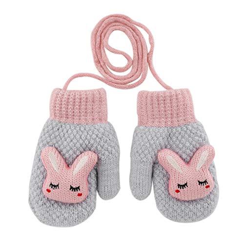 Ruixia - Guanti invernali da bambina, a forma di coniglietto, con cordoncino anti-smarrimento, caldi, super morbidi e confortevoli, in peluche a doppio spessore, termici, per bambini da 0 a 3 anni