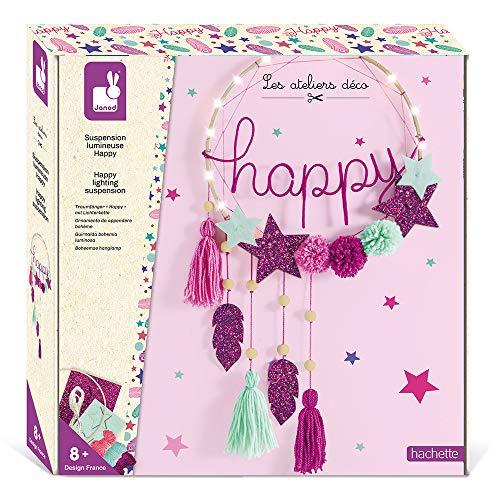 Janod Adorno Colgante Luminoso Happy para Confeccionar - Les Ateliers Déco - Kit Infantil de Manualidades Creativas - Desarrolla la motricidad Fina y la Creatividad - A Partir de 8años